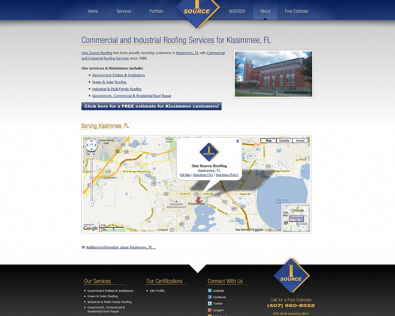 One Source Roofing Web Design
