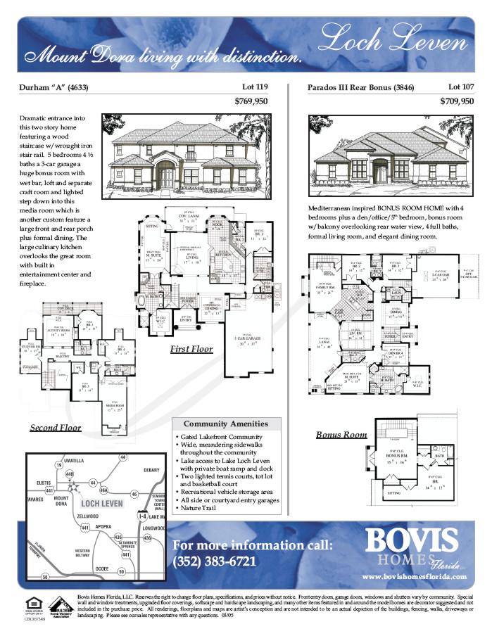 Bovis Homes Florida LLC Marketing Materials – Bovis Homes Floor Plans