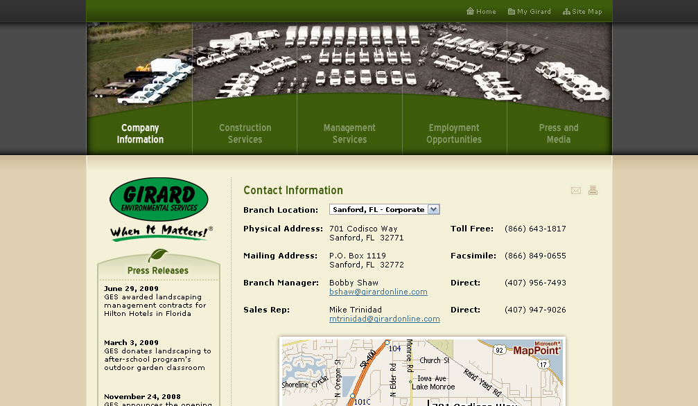 Girard Environmental Services Web Design